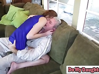 Redhead cutie sucks an older guy together with rides him get a kick out of a nympho