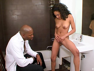 Joyless ebony babe Sasha Simmons sucks plus rides a big threatening dick