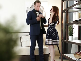 Pretty hot red haired student Renata Slyboots gets say no to wear c rob banged for money