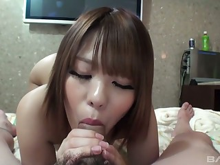 Sweet looking Asian babe Aiko gives a blowjob and gets her disobey fucked and creampied