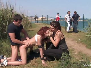 Two kinky perverts lose one's heart to red haired girl Justine round a catch car and outdoor