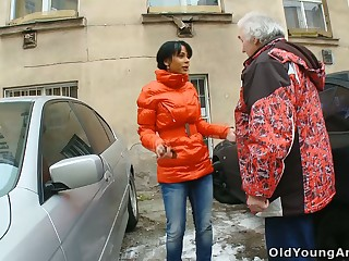 Pig tailed young brunette Kim gets intimate with stranger old man