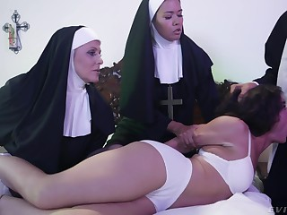 Horny Victoria Voxxx needs two nuns and a priest to exorcise the demon broadly of her cunt
