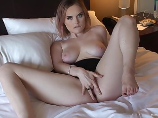Clumsy reveals pussy and chest for a for detail solo display