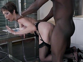 Amateur mature in stockings fucked from behind by a big black cock
