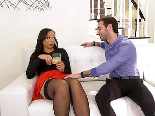 Slutty nextdoor ebony chick Adriana Maya seduces white partial to man