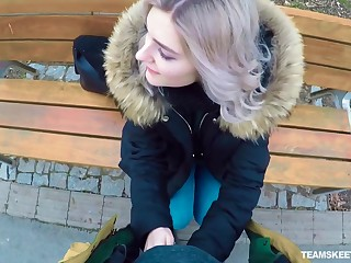 Naughty Russian teen Eva Elfie gives a blowjob in public for money