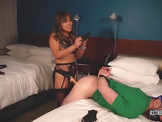 Abbey Rain sodomizes her submissive girlfriend