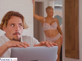Young man gets caught watching his stepmom's nudes on her adding machine