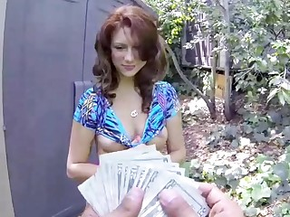 Beamy Ass, Beamy Tits, Redhead Teen Picked Up And Fucked For Cash, POV